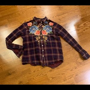 JOHNNY WAS EMBROIDERY PLAID SHIRT W/ VELVET
